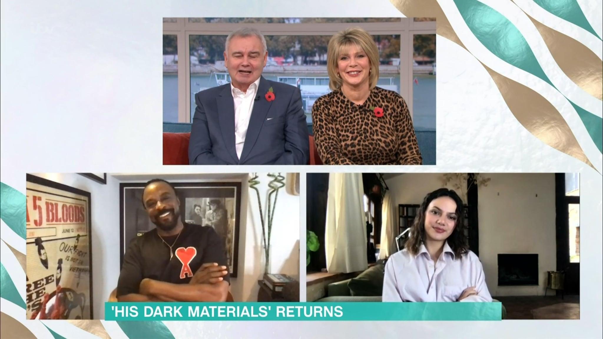 Mandatory Credit: Photo by ITV/Shutterstock (11003139au)Eamonn Holmes, Ruth Langsford, Ariyon Bakare and Dafne Keen'This Morning' TV Show, London, UK - 06 Nov 2020