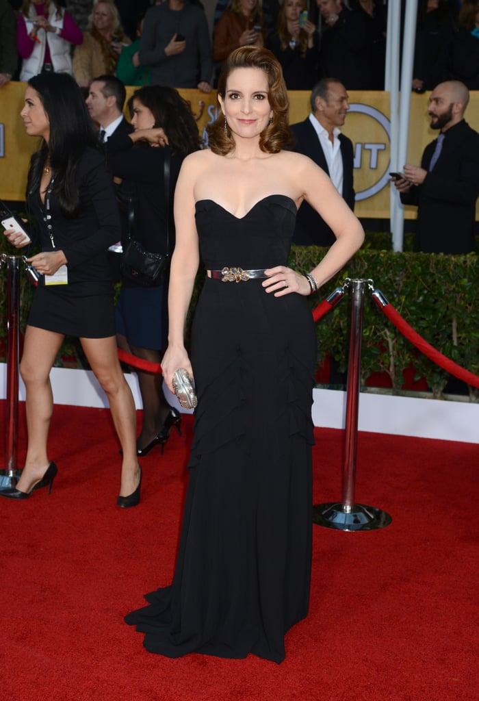 Tina Fey wore a black gown to the SAG Awards. | Stars on the Red ...