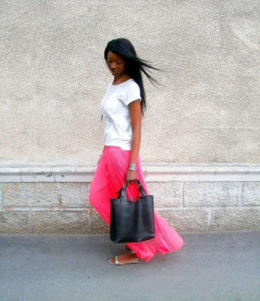 One way to make a Summer statement? Just add a neon maxi skirt. Photo courtesy of Lookbook.nu