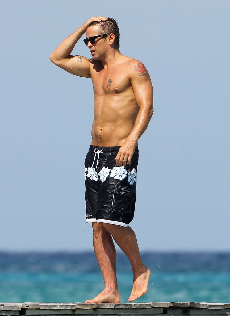 Colin Farrell was shirtless over the weekend to hang out in Cancun with his sister. He and Claudine Farrell hit the sand together, with Colin showing off his six-pack. The Farrells treated themselves to the getaway in the middle of Colin's traveling to promote Total Recall. He took the picture to Comic-Con in San Diego, where we got the scoop on Kate Beckinsale and Jessica Biel's fight scenes. Colin also stopped in Paris for a photocall ahead of the picture's Aug. 3 US release date. Lately, Colin's also logged time on the Philadelphia set of Dead Man Down and is gearing up to shoot Disney's Saving Mr. Banks and Winter's Tale, about his native Ireland's great famine.