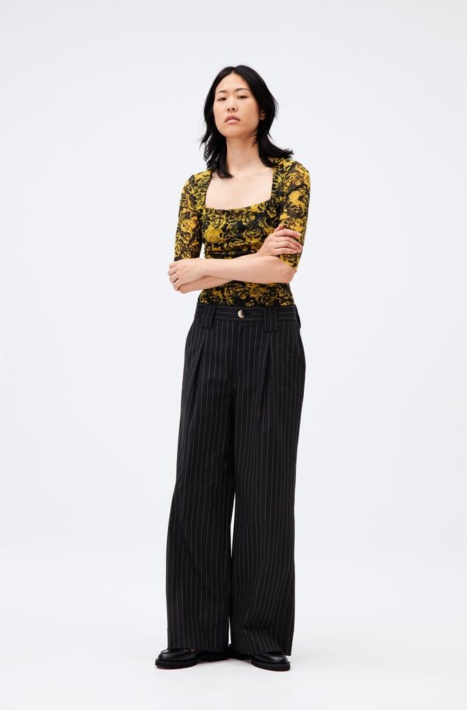 Ganni Stretch Stripe Wide Pants