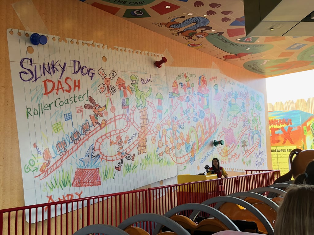The inside of Slinky Dog Dash, where you can see Andy's crayon plans for the coaster.