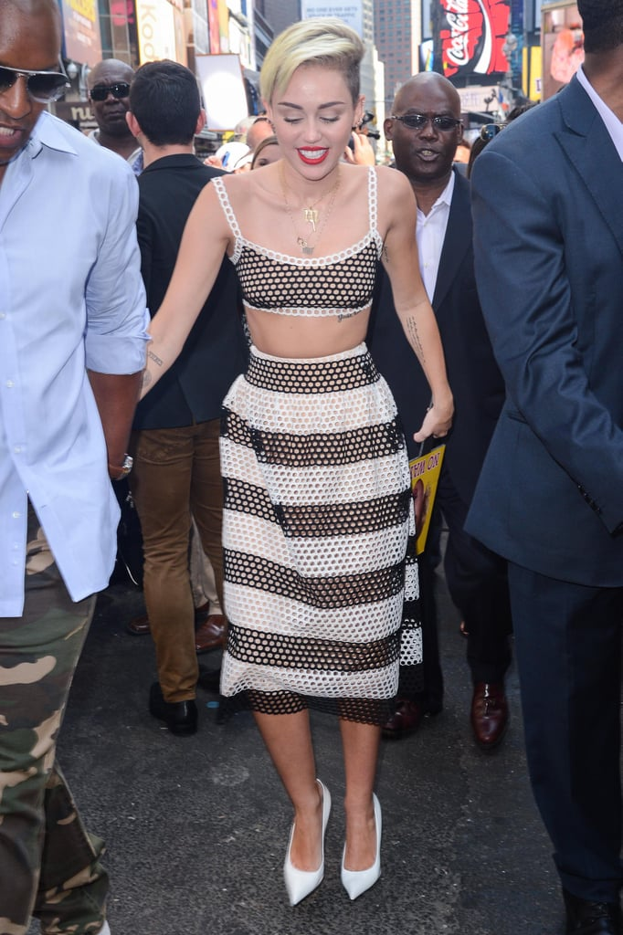 Cyrus looked — dare we say sweet? — in a perforated striped skirt and bralette from Marc Jacobs Resort 2014 collection after taping her Good Morning America segment in July.