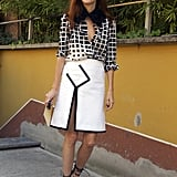Taylor Tomasi Hill shows us how to indulge in the starkest kind of contrasts via sharp cuts, graphic prints, and strong shapes.