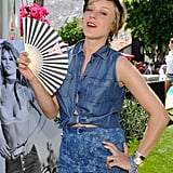Chloë Sevigny fanned her denim-clad self at the Guess event.