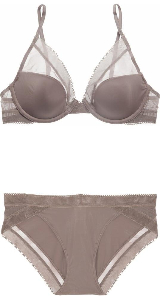 Calvin Klein Underwear Gray Satin Bra and Brief