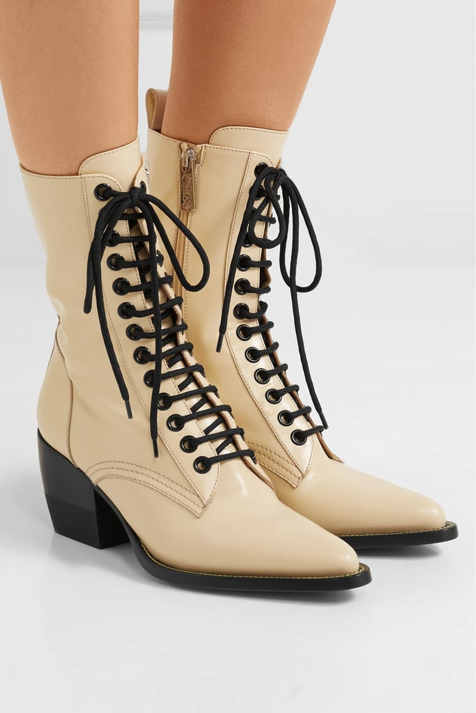 d36a26a99f Alternative: Chloé Rylee Glossed-Leather Ankle Boots | Selena Gomez ...