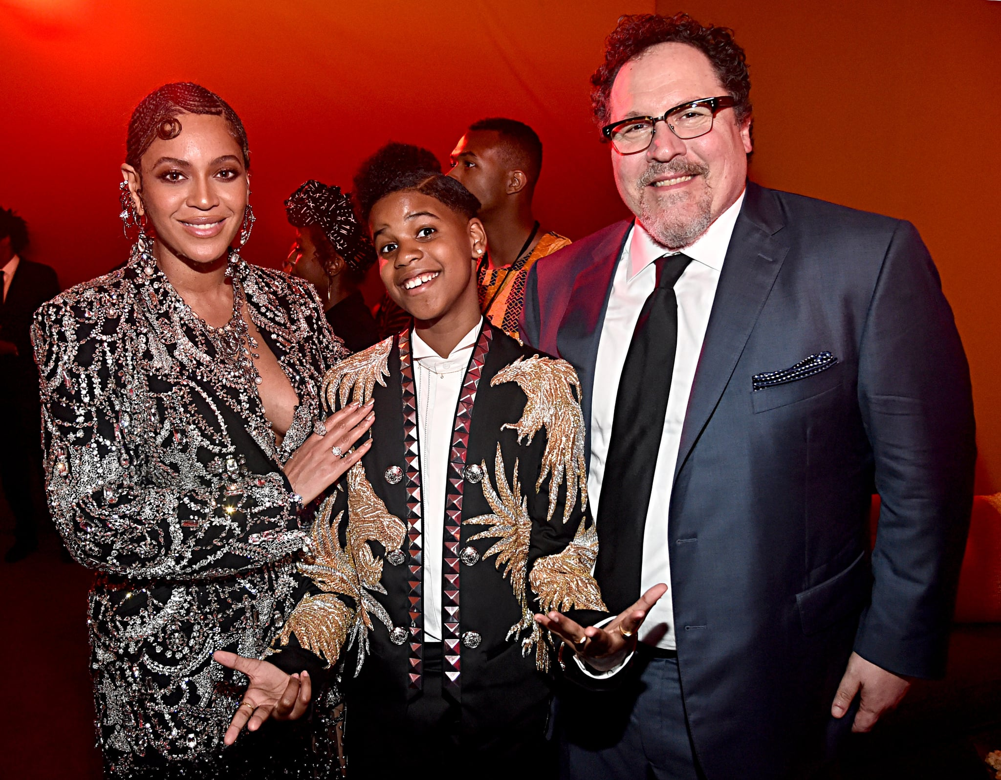HOLLYWOOD, CALIFORNIA - JULY 09: (L-R) Beyonce Knowles-Carter, JD McCrary and Director/producer Jon Favreau attend the World Premiere of Disney's