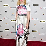 Cate wore a white printed frock.