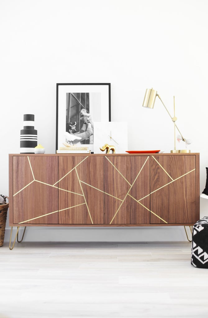 Wood and Brass Sideboard