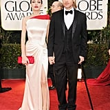 Angelina Jolie and Brad Pitt paused for photos at the 2012 Golden Globe Awards.