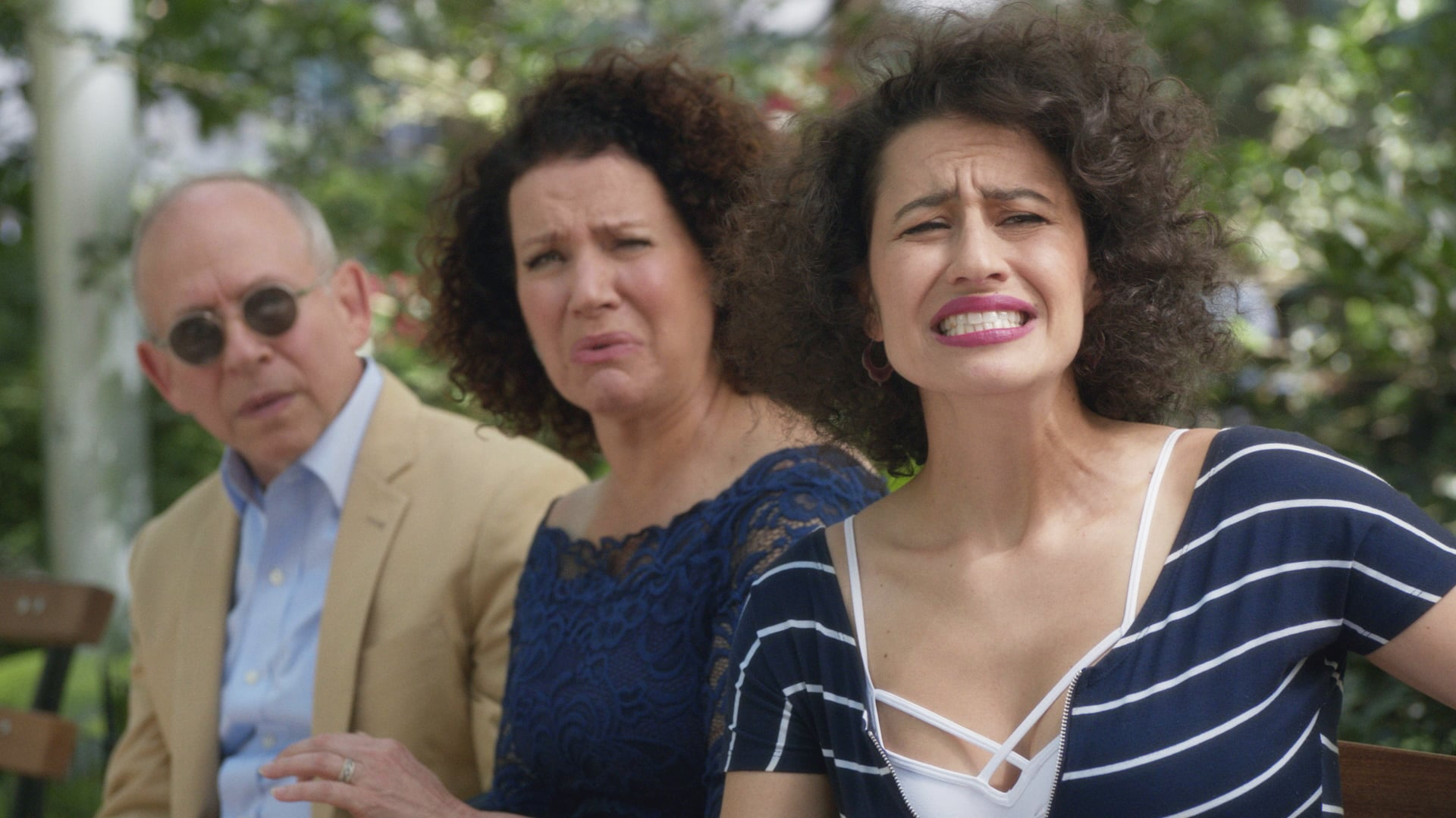 BROAD CITY, (from left): Bob Balaban, Susie Essman, Ilana Glazer, 'Burning Bridges', (Season 3, ep. 308, aired April 6, 2016). photo: Comedy Central / Courtesy: Everett Collection