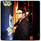 Seth Rogen got caught in a pensive moment backstage at Conan. Source: Instagram user teamcoco