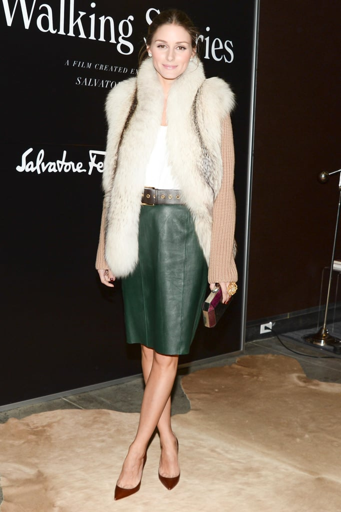 At Ferragamo's Walking Stories  premiere, Olivia Palermo bundled up in a plush fur vest.