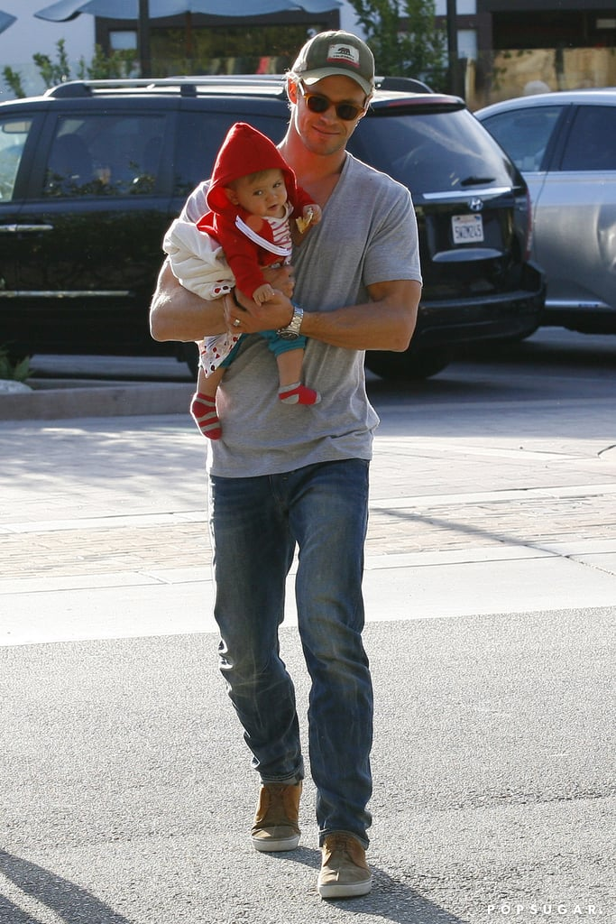 Chris Hemsworth kept his daughter, India, really close during their family lunch run in LA.