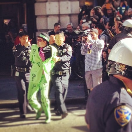 Batkid helped to save the day by taking down The Riddler. Source: Instagram user sassmouthesq