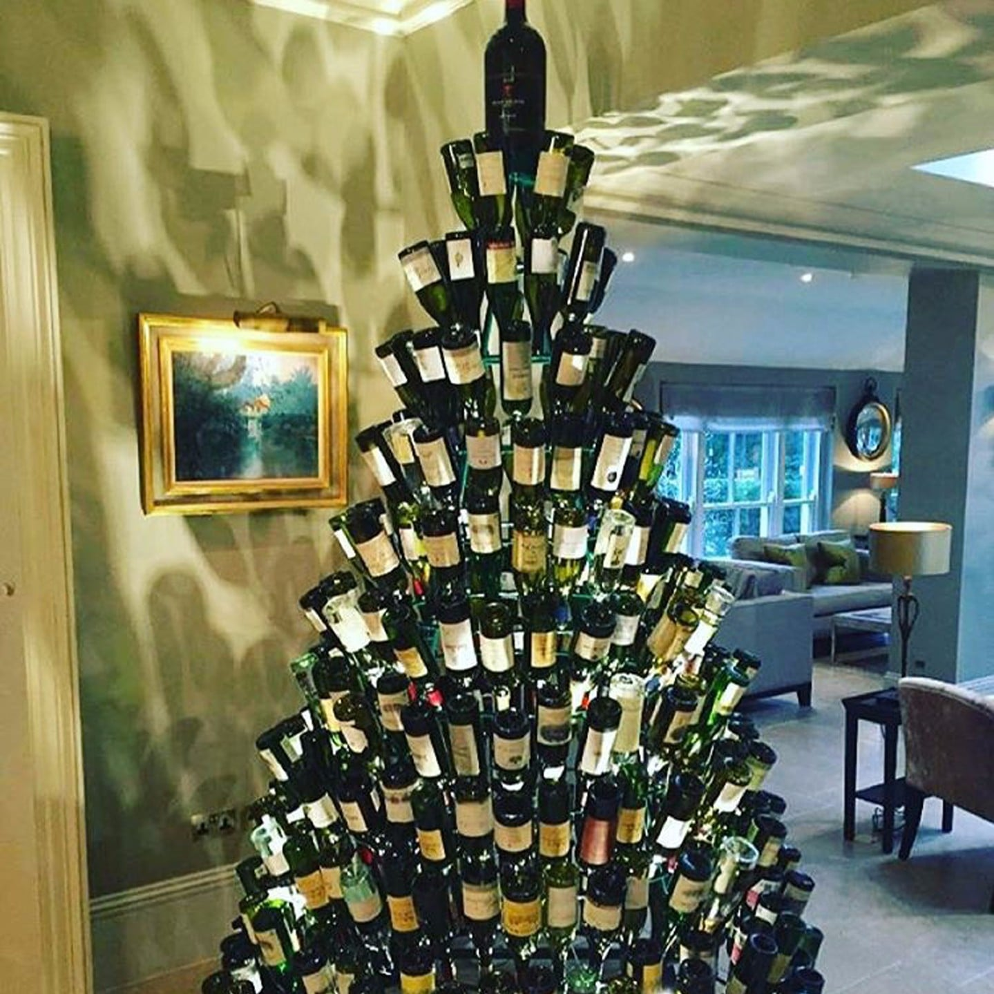 wine bottle christmas trees popsugar smart living - Christmas Decoration Stores Near Me