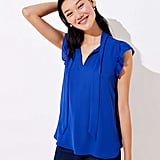 Loft Flutter Tie Neck Top