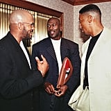 Michael Jordan and Scottie Pippen With Ron Harper Before an NBA Player's Association Meeting in 1998