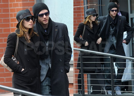 Photos of Justin Timberlake and Jessica Biel Wearing Black Jackets as They Exit His NYC Apartment