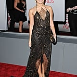 A sheer inset furthers the interest on the neckline of Vanessa Hudgens's Jenny Packham gown.