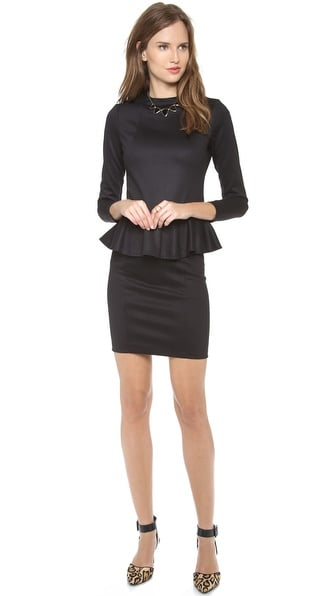 Dress this Bop Basics Long Sleeve Peplum Dress ($120) up with jewelry all season long.