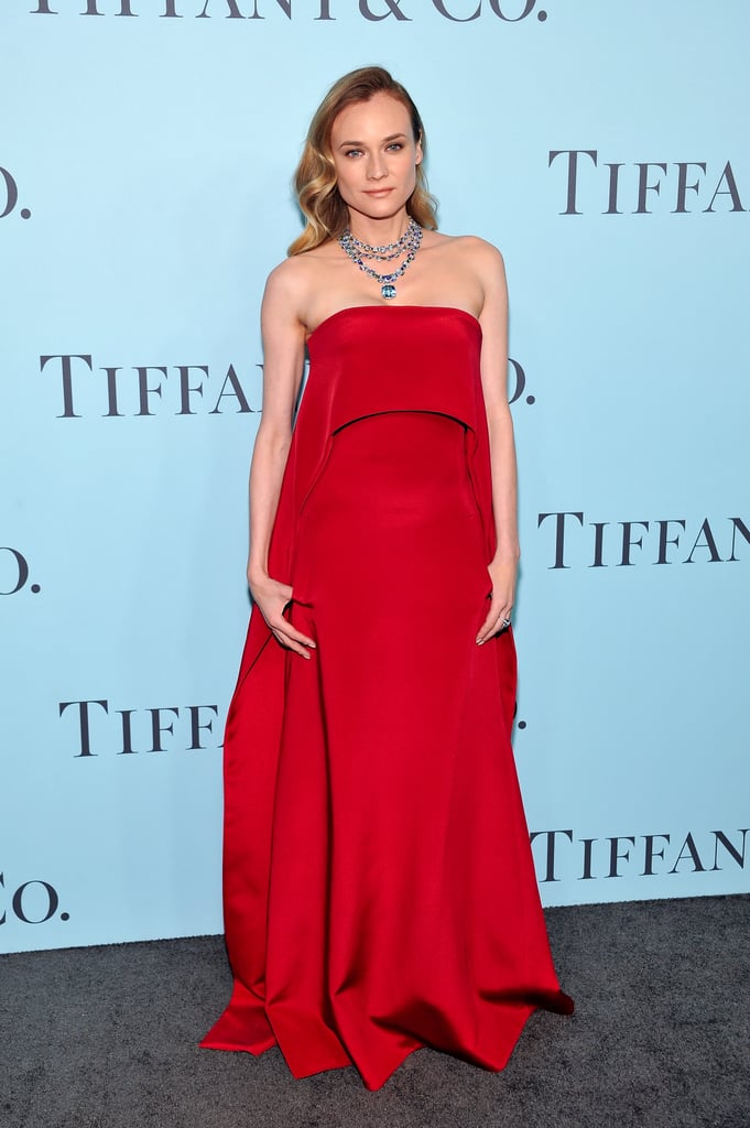 Diane went with one of her go-to hues — red! — wearing KaufmanFranco at the Tiffany & Co. Blue Book Gala.