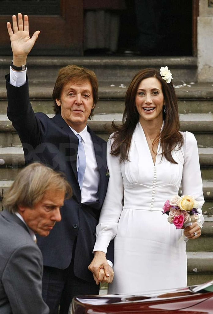 Paul McCartney waved to the crowd after his wedding.