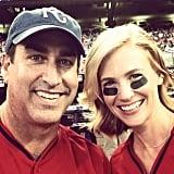 January Jones and Rob Riggle got into their celebrity baseball game. Source: Instagram user januaryjones