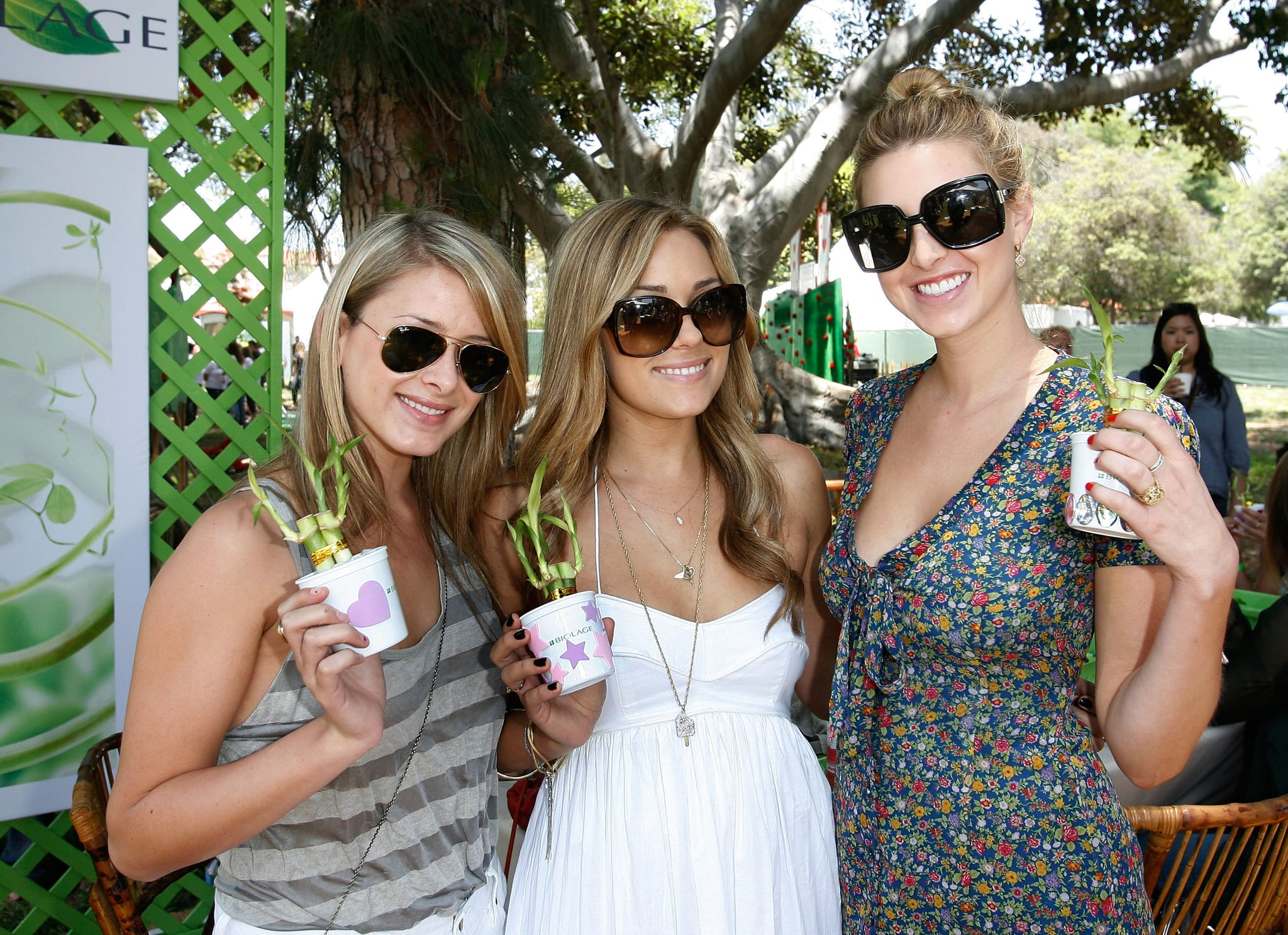 Lo Bosworth, Lauren Conrad, and Whitney Port kept cool at a June 2008 party in LA.