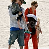 Nicole Richie and Joel Madden with Sparrow and Harlow on the beach in Malibu for Easter.