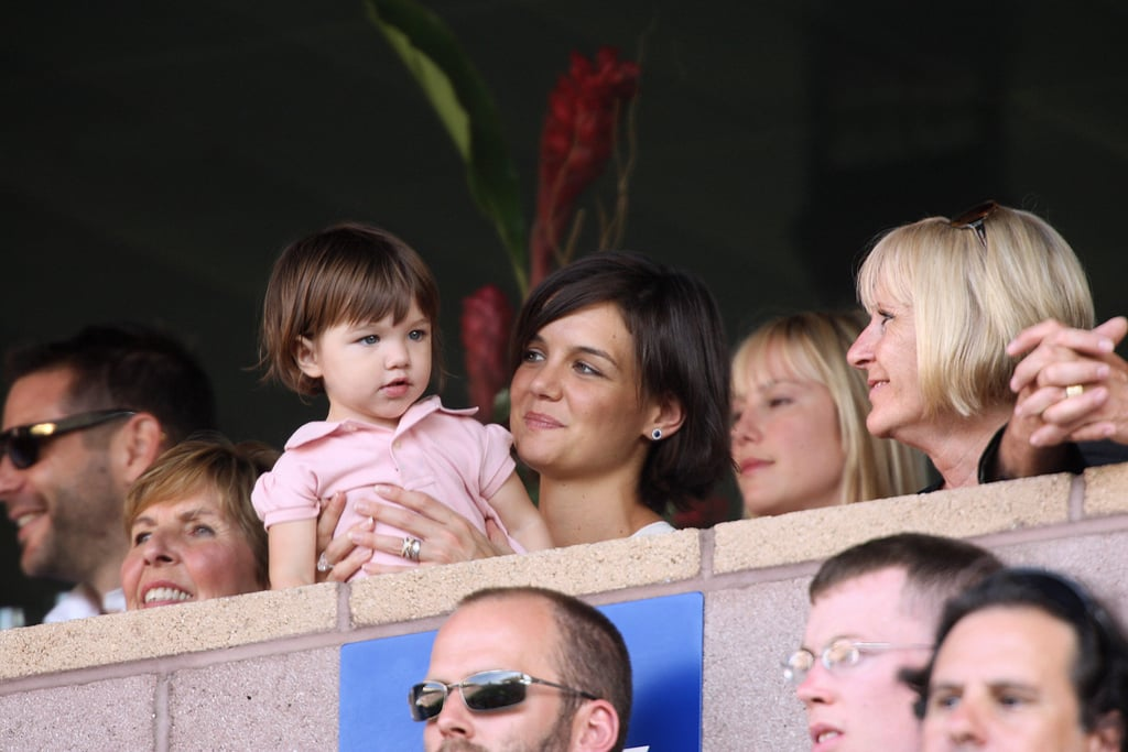 Katie Holmes brought Suri Cruise along to cheer on the LA Galaxy in July 2007.
