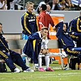 David Beckham took the bench at this LA soccer game.