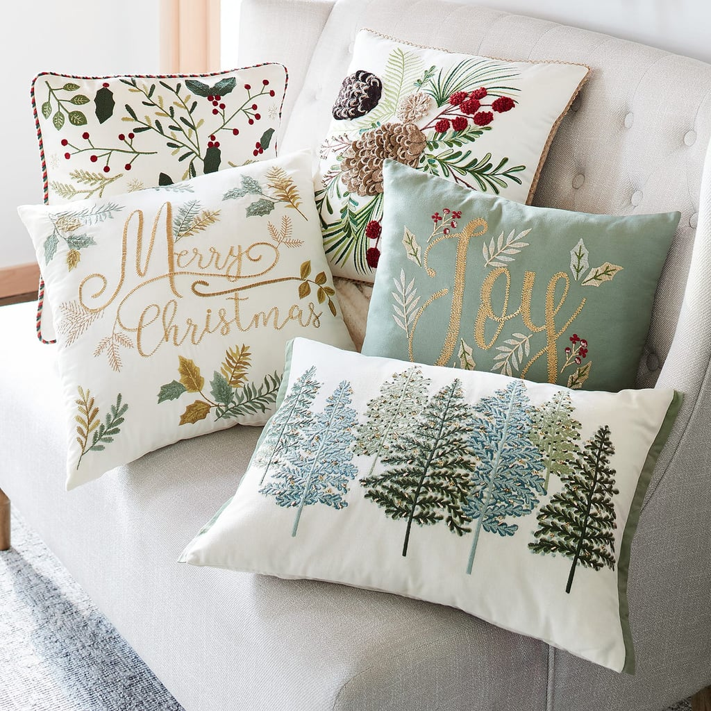 Beaded Green Trees Lumbar Pillow