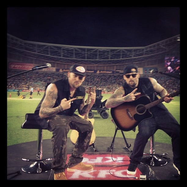 Joel and Benji Madden performed at the cricket on Saturday night. Source: Instagram user joelmadden