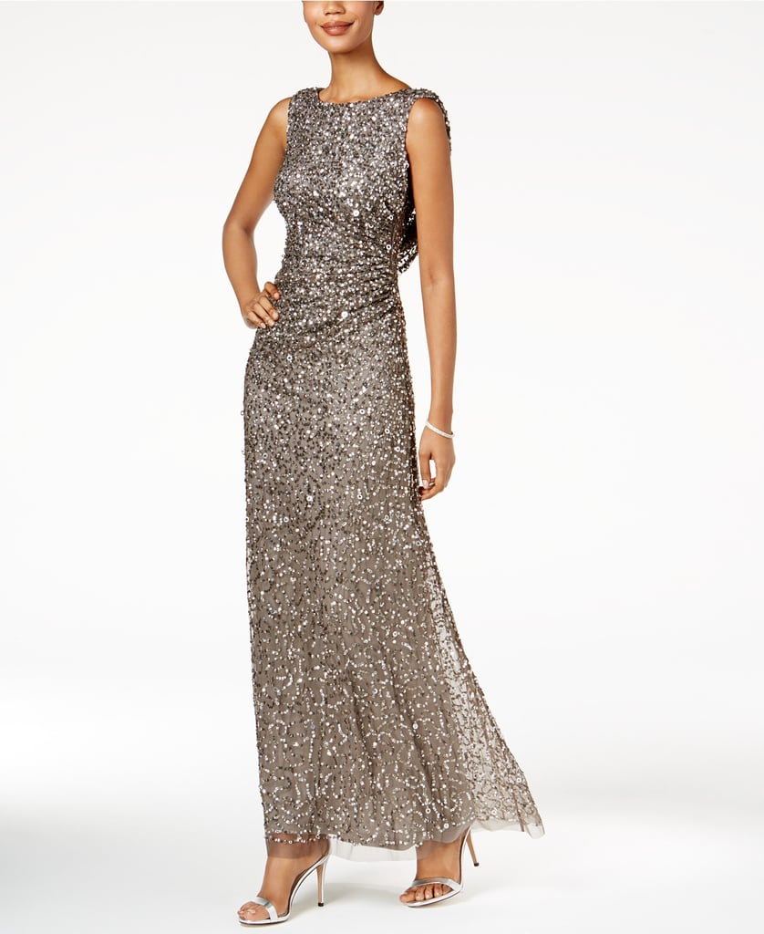 Adrianna Papell Cowl-Back Sequined Gown | Melania Trump Sequined ...