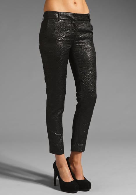 This slick black pair will be a welcome alternative to black denim with its dressier edge. Elizabeth and James Brocade Winston Pants ($395)