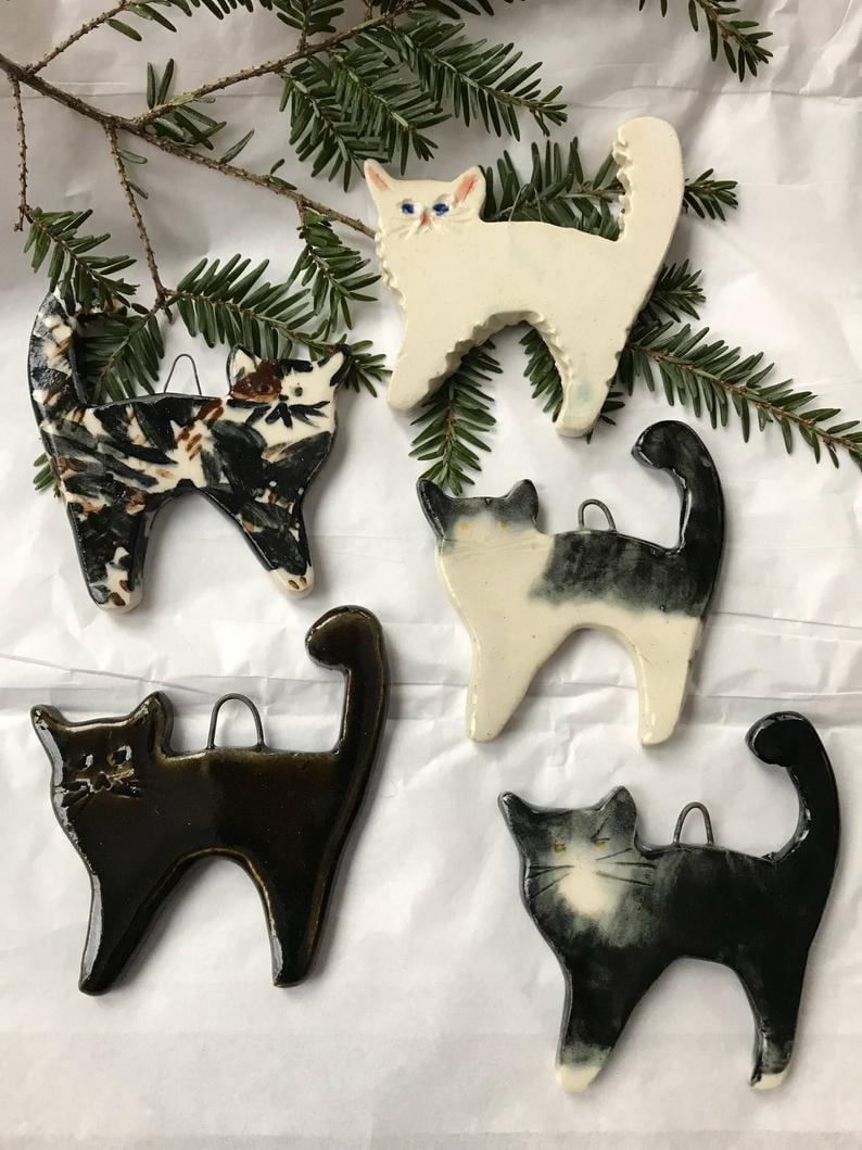 Tree Ornament Cat Ornament Clay Cat Christmas Ornament Cat with Gold Scarf Christmas Ornament Cat Ornament HANDMADE CLAY CAT Ornament