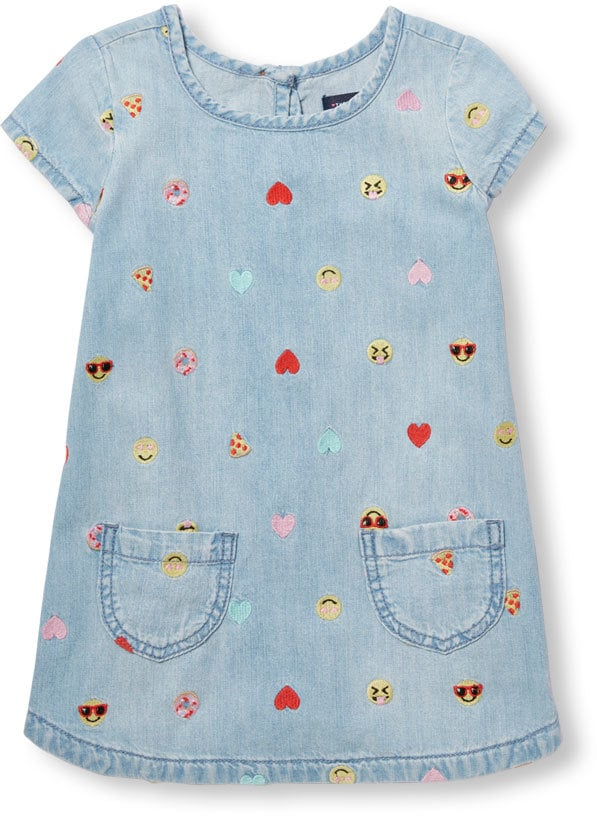 Short Sleeve Embroidered Emoji Print Chambray Dress