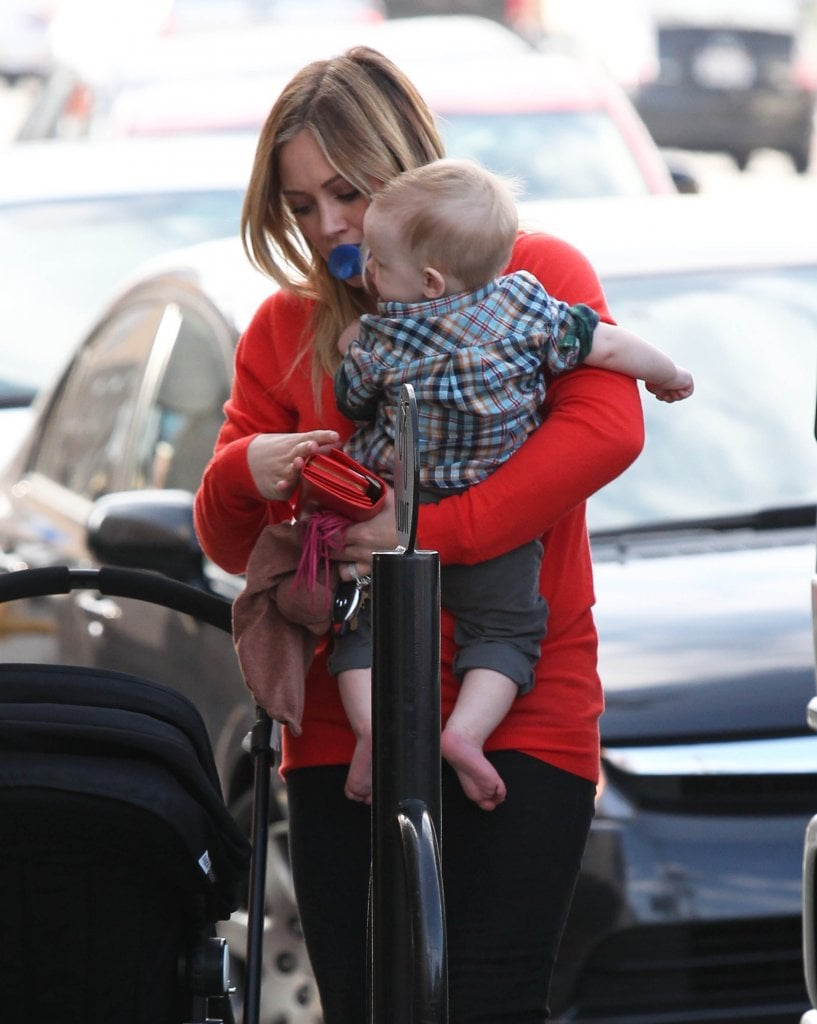 Hilary Duff carried Luca Comrie in Studio City.
