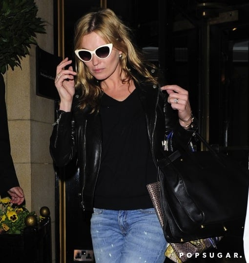 During a night out in London, Kate Moss added an unexpected twist to her leather and denim via dramatic white cat-eye sunglasses. To get her look, shop this pair from Asos ($12, originally $17).