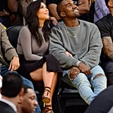 Kim Wore a Terry-Cloth Slitted Skirt, a Turtleneck, and Heels