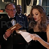 Angelina Jolie studied her lines backstage.