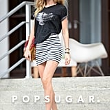 Doutzen Kroes put her legs on display on Tuesday when she went for a walk in Miami.
