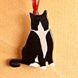 Ceramic Tuxedo Cat Ornament