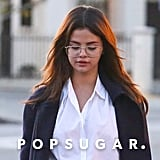 Selena Gomez Wearing Glasses and Loafers