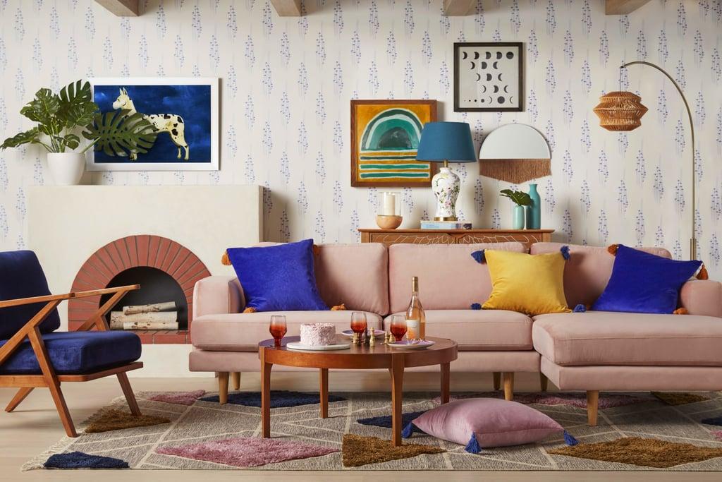 Drew Barrymore Flower Home Pink Velvet Track Arm Sectional Sofa