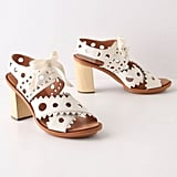 We love the whimsical cutout detailing on these chunky soled sandals.  Leifsdottir Rikka Heels ($100, originally $228)