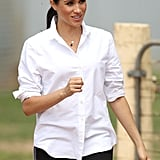 Meghan Markle Wearing the Natalie Marie Initial Necklace