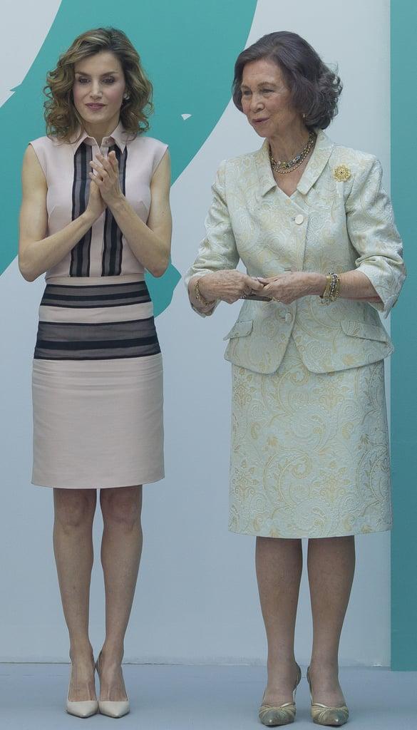 Queen Letizia's Pink Collared Dress June 2016